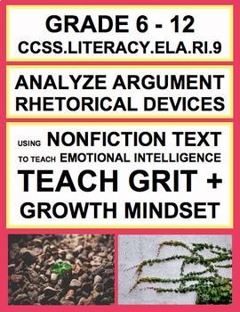 Argument + Rhetoric with SEL Nonfiction Article: Grit + Growth Mindset