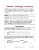 Argument Thesis Statements: Defend, Challenge, Qualify; AP Lang and Comp
