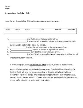 Argument Vocabulary Quiz