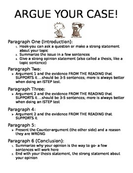 Argumentative/Opinion Writing! A Guide for Upper Elementary/Middle School