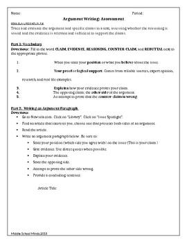 Argument Writing - Assessment