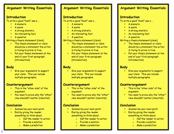 Argument Writing Bookmarks