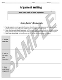Argument Writing (CER) Template, Rubric, Learning Standards