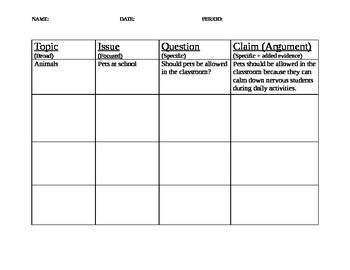 Argument Writing Claim Worksheet