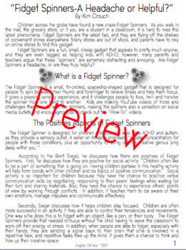 Argument Writing-Fidget Spinners, Worksheets and Templates