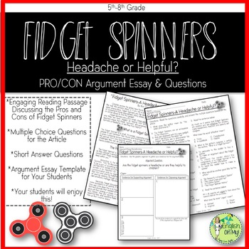 argument writing fidget spinners worksheets and templates by
