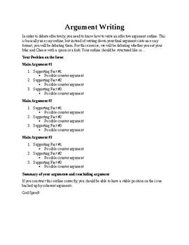 Argument Writing Handout Activity