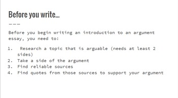 Argument Writing: Intro Paragraph Review Presentation
