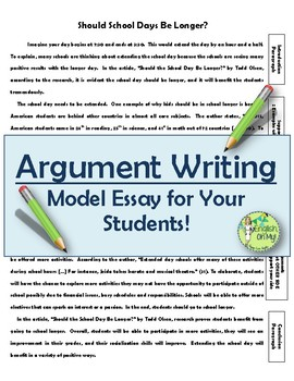 Argument Writingmodel Essay For Students By English Oh My  Tpt