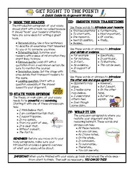 Argument Writing - One Page Guide