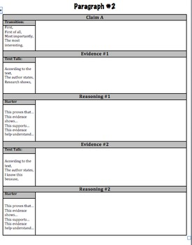 Argument Writing (CER) Graphic Organizer; (CER) Claim, Evidence, Reasoning