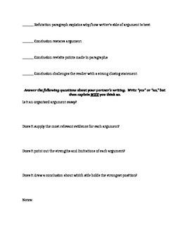 Argument Essay Writing Peer Revision Sheet