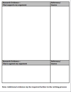 Argument Writing: Planner- Graphic Organizer; Pre-Writing
