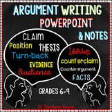 ARGUMENTATIVE WRITING POWER-POINT AND NOTES - FOR MIDDLE SCHOOL