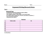 Argument Writing Research Notes