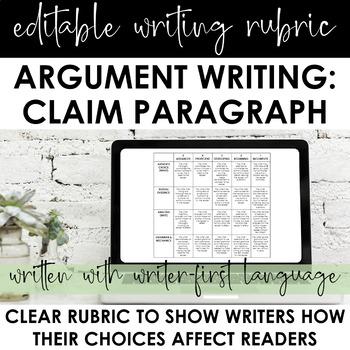 Argument Writing Rubric: Claim Paragraph | EDITABLE | CCSS
