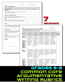 Argument Writing Rubrics Grades 6-12 Common Core