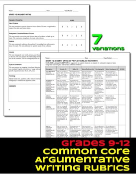 Argument Writing Rubrics Grades 9-12 Common Core
