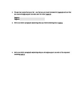 Argument Essay Writing Topic Narrowing