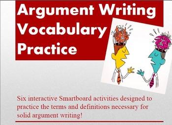 Argument Writing Vocabulary Smartboard Practice