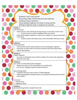 Argument Writing with Graphic Organizer