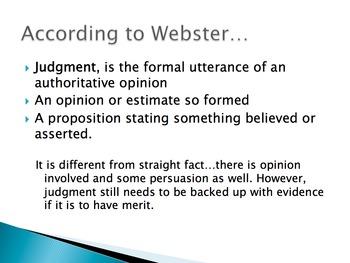 Argument of Judgement Introduction to Unit