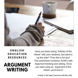 Argument of the Week/ Article of the Week Graphic Organizer