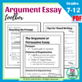 Argument or Persuasive Essay Graphic Organizers, Writing Prompts, & Rubrics