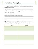 Argumentation Planning Sheet