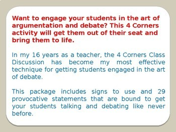 Argumentation and Debate: Using a 4 Corners Class Discussion