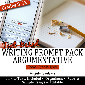 Argumentative Writing Pack With Mentor Essay Prompt Stimuli  Argumentative Writing Pack With Mentor Essay Prompt Stimuli Cyberbullying