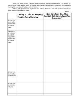 Argumentative Essay 4-day scaffolded plan (Should Schools Have Sports))