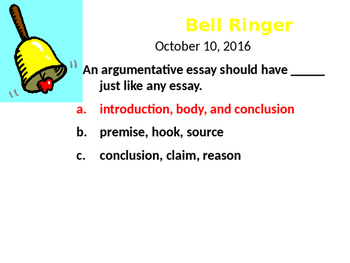 Argumentative Essay Bellringers