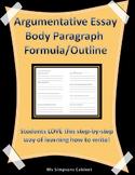 Argumentative Essay Body Paragraph Formula / Outline