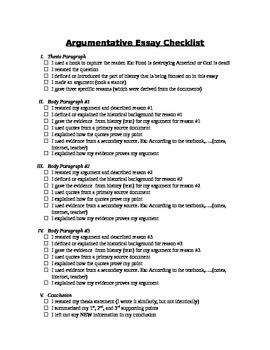 Argumentative Essay Checklist for Students