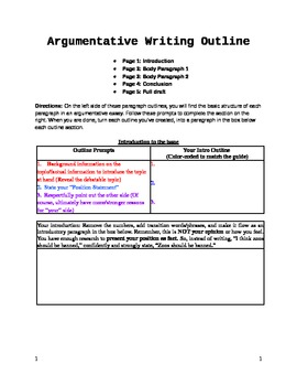 argumentative essay fill in the blank outline graphic organizer