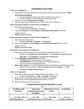 Argumentative Essay Format And Scoring Rubric By Tijuanda Riddick Argumentative Essay Format And Scoring Rubric Example Of Thesis Statement For Essay also Examples Of Thesis Statements For Narrative Essays  What Is A Thesis Of An Essay