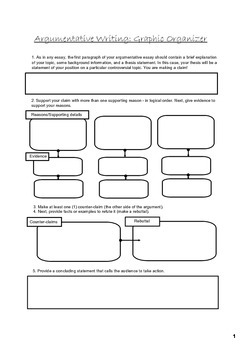 Argumentative essay graphic organizer by jaclyn robertson tpt