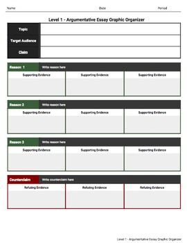 Argumentative Essay Graphic Organizers For Google Classroom