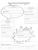 Argumentative Essay Graphic Organizer Pre-Write