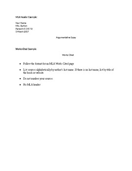 Argumentative Essay Handout and Rubric