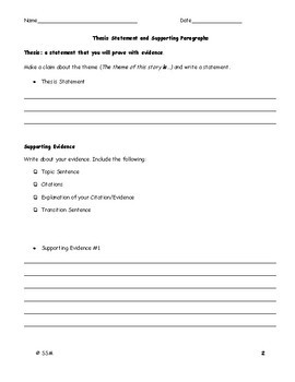Argumentative Essay (Literary Analysis): Making a Claim about the Theme Handout