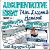 Argumentative Essay Mini Lesson and Matching Study Guide H
