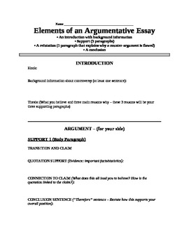 Argumentative Essay Outline - Great for Struggling Students!
