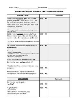 Argumentative Essay Peer Checklist