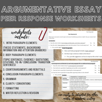 Argumentative Essay Peer Response Worksheets