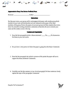 Argumentative Essay Peer Review Activity