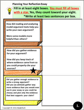Argumentative Essay Reflection PDF and Google Slides