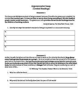 Argumentative Essay-Stalin Documents-Leveled
