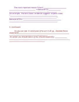 Argumentative Essay Student Template